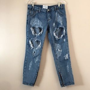 One Teaspoon Trashed Free Birds Distressed Jeans